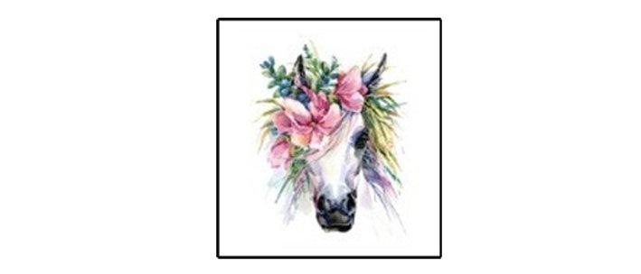 unicorn flower Temp tattoo   קעקוע זמני חד קרן1