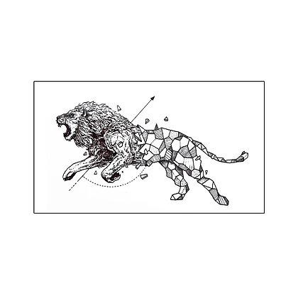Geometric Lion temp tattoo | קעקוע זמני אריה גאומטרי