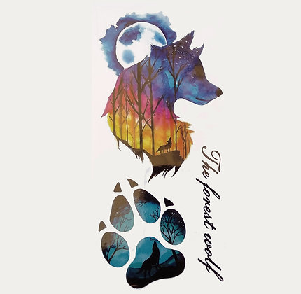 wolf step head tattoo | עקבות זאב