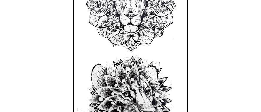 Geometric Lion Head temp tattoo | קעקוע זמני ראש אריה