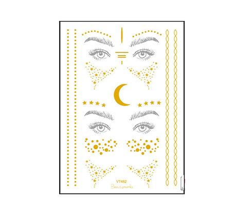 copy of face gold tattoos2  | נמשים זהב לפנים