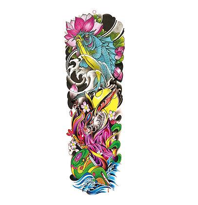 Fish rabbit waves sleeve tattoo |שרוול דג גלים ארנב צבעוני