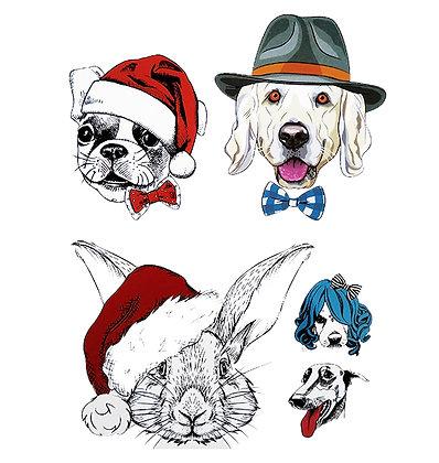 cartoon animals mix3 temp tattoo | 3אוסף חיות קומיקס