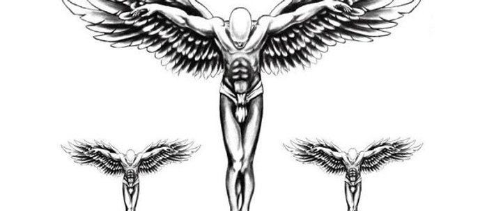 3 Angels temp tattoo   מלאכים