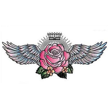 Chess flower wings flower temporary tattoo | קעקוע חזה פרח כנפיים