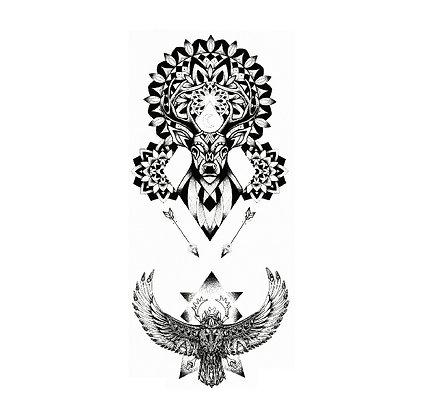 Deer Owl temporary tattoo | זאב ינשוף קעקוע קטן