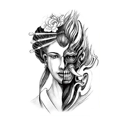 Chinese half-skull face halloween temporary tattoo |קעקוע זמני סינית גולגולת