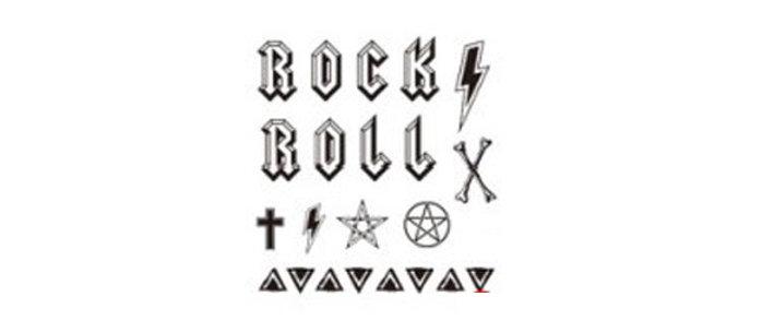 rock and roll text  temp tattoo   קעקוע זמני טקסט