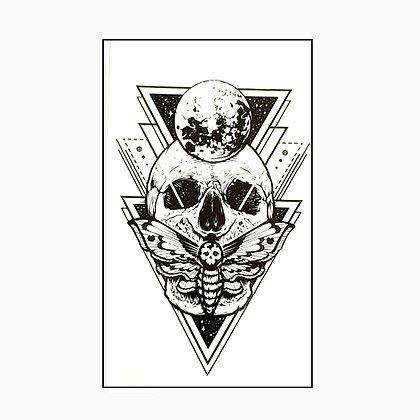 skull butterfly small tattoo   גולגולת פרפר