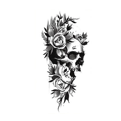 Skull flower temporary tattoo | קעקוע זמני גולגולת פרח