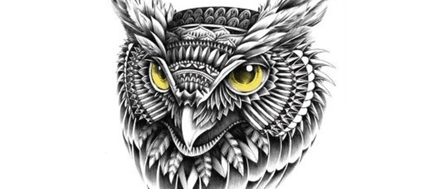 Owl head temporary tattoo | קעקוע זמני ראש ינשוף