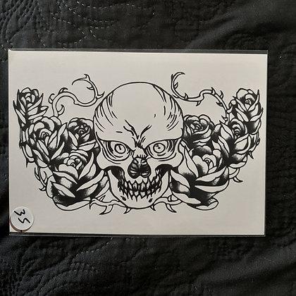 Flowers skull temp tattoo |  לחזה פרחים גולגולת