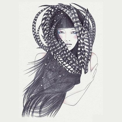 woman feathers temp tattoo | אישה נוצות