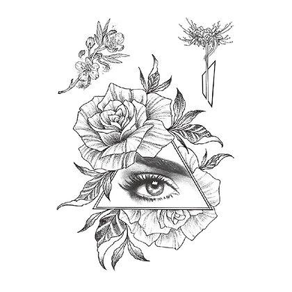 A floral eye triangle temp tattoo | משולש פרחוני עין