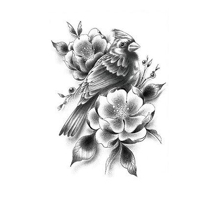 bird flower temporary tattoo | ציפור פרחים