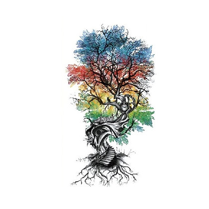 Tree color roots temporary tattoo | קעקוע זמני עץ שורשים