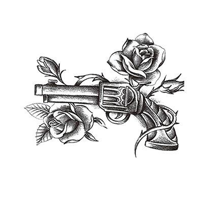 Gun flowers temp tattoo | רובה אקדחים