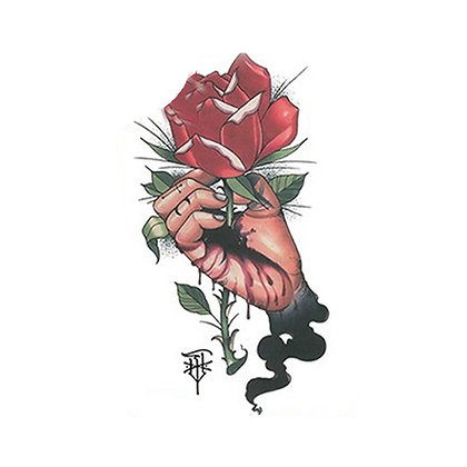hand flower temporary tattoo   קעקוע זמני יד ורד
