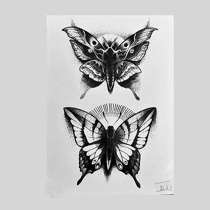 butterfly temp tattoo |פרפרים שחורים