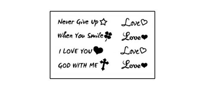 text love temp tattoo | קעקוע זמני טקסט