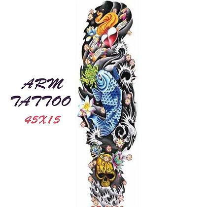 one fish  skull  sleeve tattoo | שרוול צבעוני דג ים