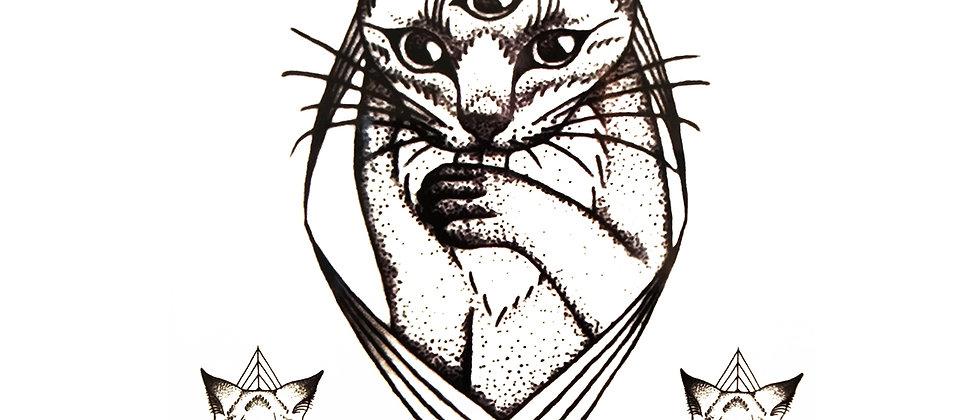 third eye cat temporary tattoo | חתול עין שלישית
