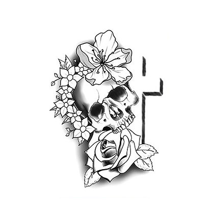 Skull flower cross temporary tattoo |  קעקוע זמני גולגולת פרח פרפר