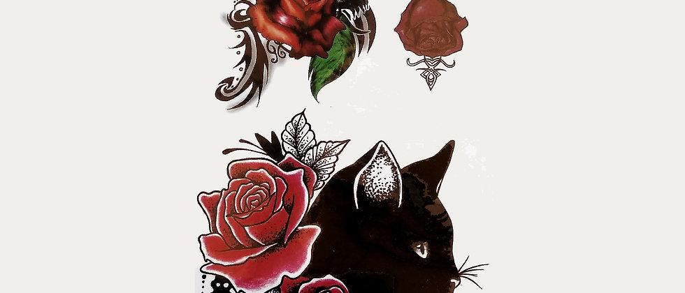 cat roses tattoo   חתול שחור פרח