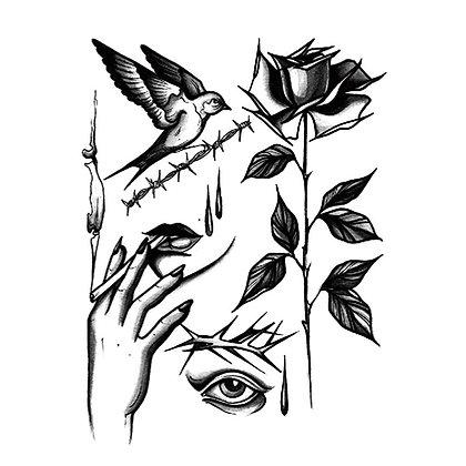 smoking woman flowers bird  temp tattoo|מיקס רטרו