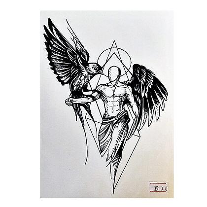 Angel black birds temp tattoo | מלאך ציפור גיאומטרי