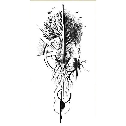 Geometric tree bird temp tattoo | קעקוע זמני עץ גיאומטרי