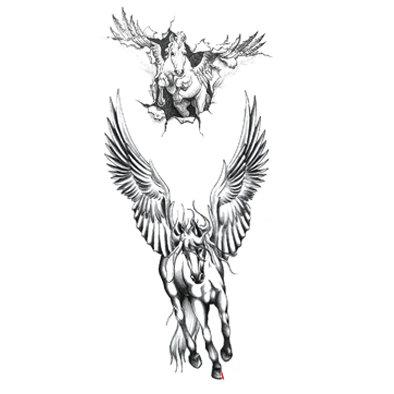 horse wings temp tattoo  סוסים כנפיים