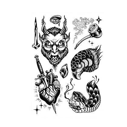 mix horror purim snake heart temp tattoo | קעקוע זמני פורים אימה האלווין