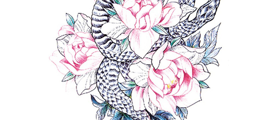 snake flowers pastel temp tattoo | נחש פרחים פסטל