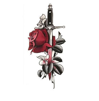 sword roze temp tattoo | חרב ושושנה