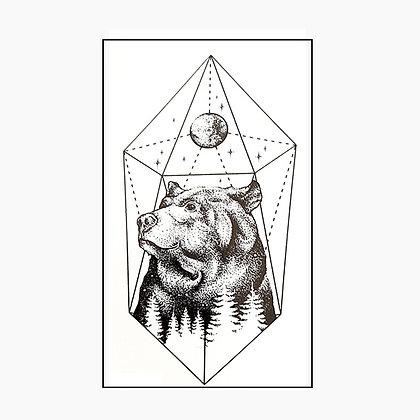 bear small tattoo |  דוב גיאומטרי