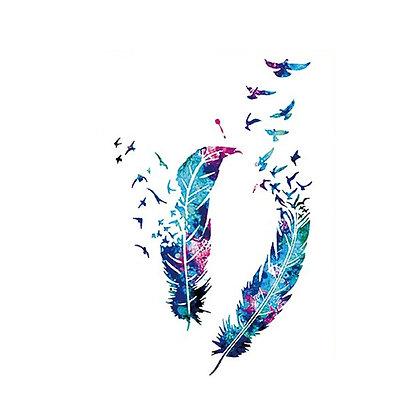 Feathers temporary tattoo   קעקוע זמני נוצות צבעוני