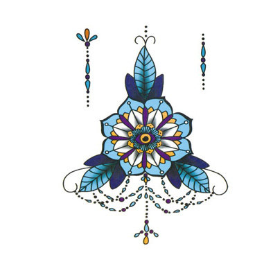 colored style Body decoration4  קישוט חזה דמוי חינה