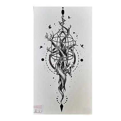 art tree roots birds temporary tattoo | קעקוע זמני עץ ציפורים שורשים