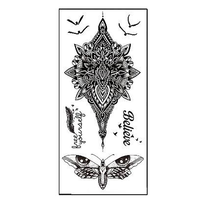 henna Butterfly believes birds temporary tattoo |מיקס חינה סטייל פרפר
