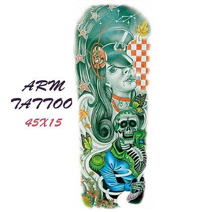retro woman skull sleeve tattoo   שרוול רטרו אישה גולגולת