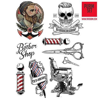 Barbershop tattoos set / קעקועי ברברשופ עמיד למים