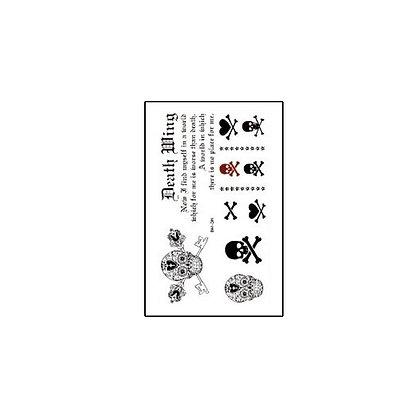 text skull temp tattoo |  גולגולות טקסט קעקוע זמני