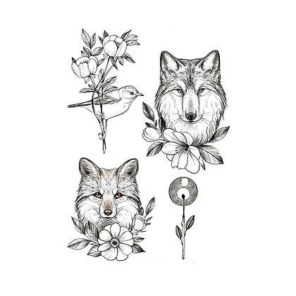 fox wolf  temp tatto |  שועל זאב ציפור קעקוע זמני