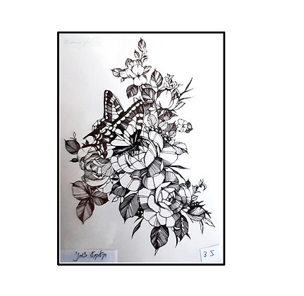 flowers butterfly mix temp tattoo     פרפר שחור פרחים