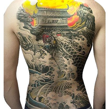 japan home sea storm temp tattoo | קעקוע ענק גלים ובית אסייתי