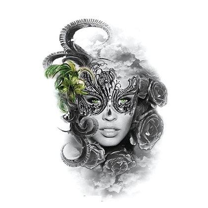 woman mask purim temp tattoo | אישה מסיכה
