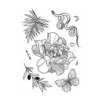 mix flowers snake leaves  tattoo |  מיקס פרחים נחש עלים