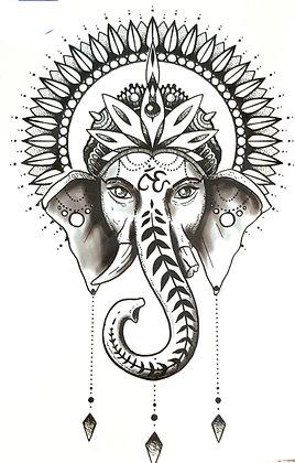 Elephant hindi mandela temp tattoo /  פיל