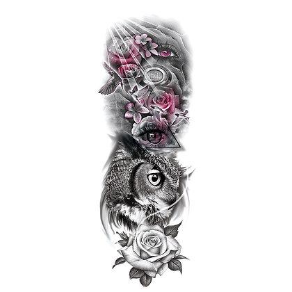 owl eyes flowers sleeve tattoo | קעקוע שרוול רומנטי ינשוף עין פרח